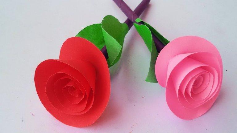 آموزش ساخت گل رز کاغذی / روش ساده برای درست کردن گل رز کاغذی